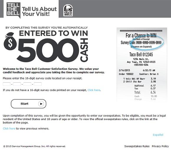 tellthebell.com | Win Taco Bell $500 Cash Survey